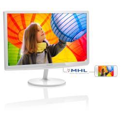 """Écran LED Philips E-line 247E6EDAW - Écran LED - 24"""" (23.6"""" visualisable) - 1920 x 1080 Full HD (1080p) - ADS-IPS - 250 cd/m² - 1000:1 - 5 ms - DVI-D, VGA, HDMI (MHL) - haut-parleurs - blanc brillant"""