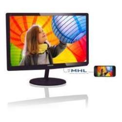 """Écran LED Philips E-line 247E6QDAD - Écran LED - 23.6"""" - 1920 x 1080 Full HD (1080p) - ADS-IPS - 250 cd/m² - 1000:1 - 5 ms - HDMI, DVI-D, VGA - haut-parleurs - noir cerise brillant"""