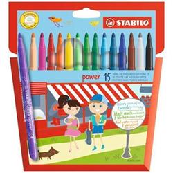 Stabilo - Power - penna punta in fibra - colori assortiti (pacchetto di 15) 280/15-01
