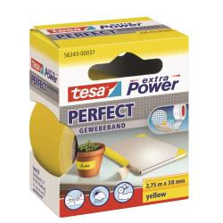 Tesa - Extra power perfect nastro in tessuto - 38 mm x 2.75 m - giallo 56343-00037-03