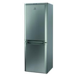 Réfrigérateur Indesit NCAA 55 NX - Réfrigérateur/congélateur - pose libre - largeur : 55 cm - profondeur : 54 cm - hauteur : 157 cm - 217 litres - congélateur bas - classe A+ - inox