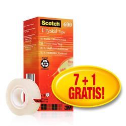 Scotch - Crystal 600 nastro ufficio - 19 mm x 33 m - trasparente (pacchetto di 8) 94074