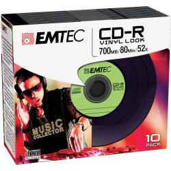 CD Emtec - Vinyl look - cd-r x 10 - 700 mb - supporti di memorizzazione ecoc801052slvy