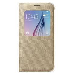 Custodia Samsung - S VIEW COVER GOLD S6 FABRIC