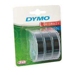 Nastro Dymo - 3D Rilievo 9mmx3m Nero Confez.3pz