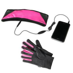 Kit auricolari+fascia+guanti Celly - Sport Stereo Band Gloves Rosa