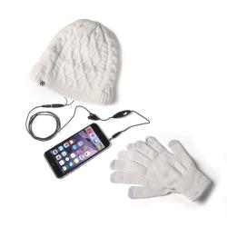 Kit auricolari+cappello+guanti Celly - Winterkit Stereo Cap Gloves Bianco