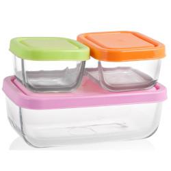 Set contenitori PENGO - Set 6 Pezzi contenitori frigo in vetro rettangolare
