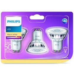 Faretto LED Philips - Luce bianca calda, GU10, 3 pezzi