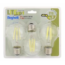 Lampadina LED BEGHELLI - FILAMENT LEDGOCCIA 6W 6500°K confezione 3 pezzi