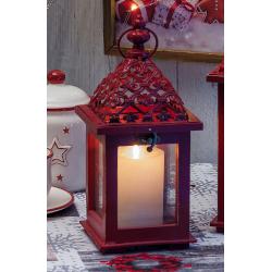 Lanterna Regalo Italiano - Lanterna portacandela in legno e ferro 13x13x29 cm