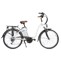 "Bicicletta elettrica Smartway - City Bike Unisex C1-L04S6-W 26"" Bianca"