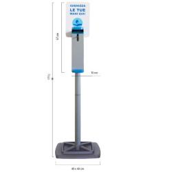 Supporto dispenser Colonna con dispenser a gomito per gel igienizzante