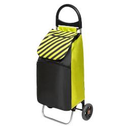 Trolley PENGO - Carrello spesa con borsa da 50 litri Verde, Nero a righe