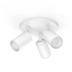 Lampada Philips - Hue White & Color Fugato, Faretto smart, 3 punti luce, bianco