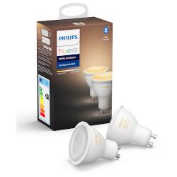 Lampadina LED Philips - Hue White Ambiance, 2 Faretti LED Smart con  Bluetooth, GU10