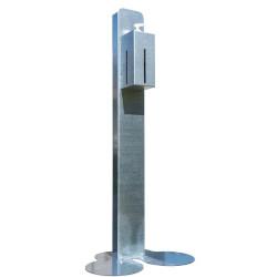 Supporto dispenser Nilox - Colonna regolabile con dispenser per gel igienizzante in Acciaio