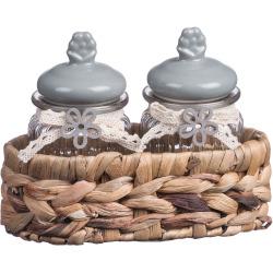 Set barattoli Regalo Italiano - 68066 2 barattoli vetro coperchio ceramica e cestino in alga