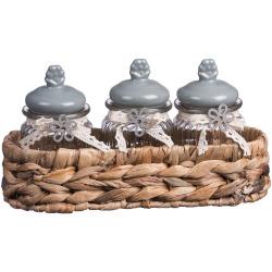 Set barattoli Regalo Italiano - 68067 3 barattoli vetro coperchio ceramica e cestino in alga