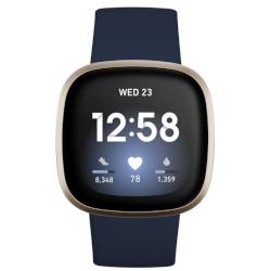 Smartwatch Fitbit - Versa 3 40mm alluminio Oro con cinturino in silicone Blu notte