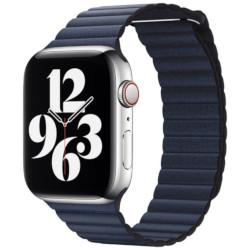 Apple - Cinturino Leather Loop Blu Sub 44mm