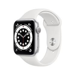 Smartwatch Apple - Watch Series 6 GPS 44 mm alluminio argento con cinturino sport bianco