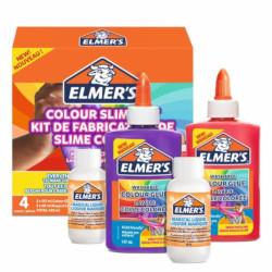 Elmers - Colla Vinilica Colorata Lavabile + Liquido Magico Attivatore di Slime - 4pz