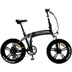 Bicicletta elettrica Momo Design - Tokio - Ruote 20'' Fat Bike - Motore 250W - Nero e argento